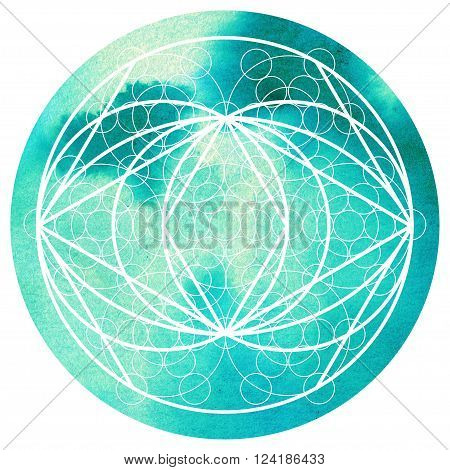 Sacred geometry symbol on colorful watercolor round background. Alchemy religion philosophy astrology and spirituality themes. Matter space and time. Science in Universe
