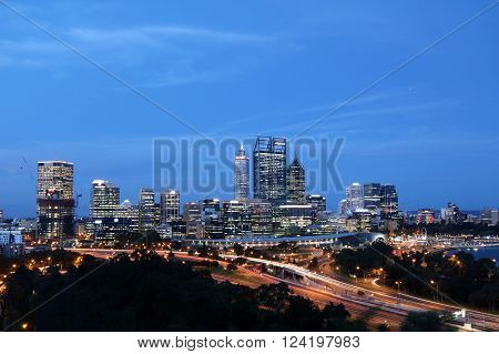 Night skyline of Perth City Center Western Australia