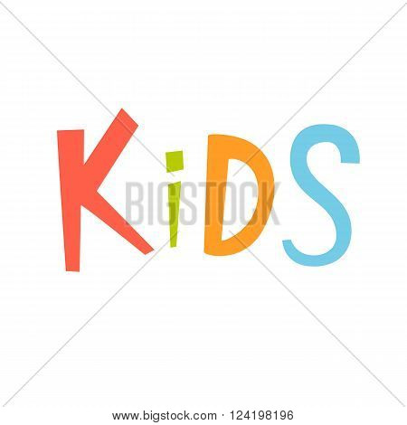 Kids vector lettering. Kids lettering isolated on white background. Text vector illustration. Kids word and flowers. Kids inscriptition