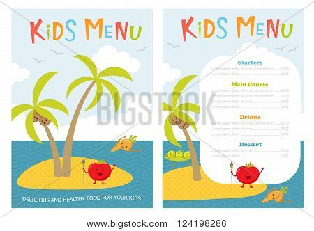 Kids menu. Cute kids meal meny vector template with cartoon vegetables. Healthy food for child. Kids meny flyer with sea island and aborigine tomato, carrot, peas, broccoli, coconut. Cover for menu poster