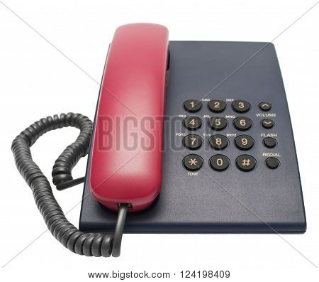 Office desk telephone. Object isolated on white background without shadows