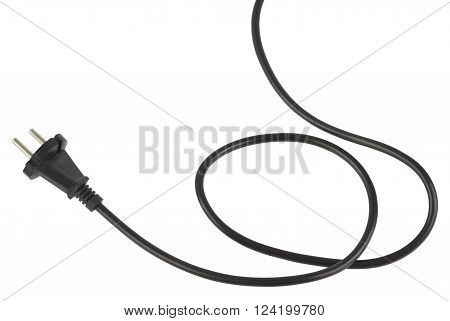 Power cable with european plug. Object is isolated on white background without shadows.