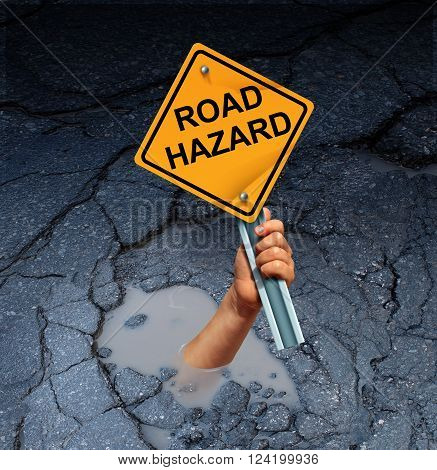 Road hazard concept as an accident victim drowning in a broken street pothole while holding a traffic sign as a transportation maintenance failure and public works disrepair risk.