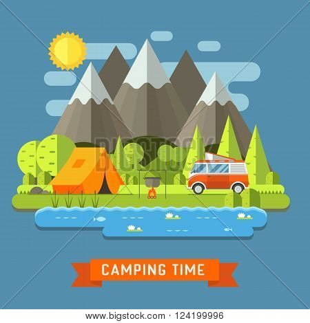 Campsite place in mountain lake. Forest camping landscape with rv traveler bus in flat design. Summer camp place with camper caravan vector illustration. National park area auto travel campground.