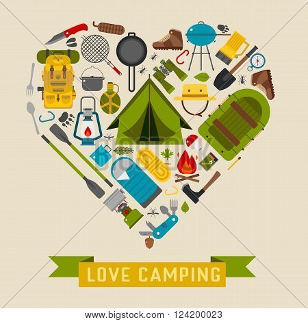 Camp icons in heart shape. Love camping concept with vector hiking elements. Basecamp and hike equipment in creative form.