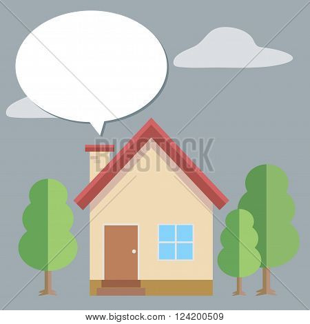 House vector , house and tree with speech bubble