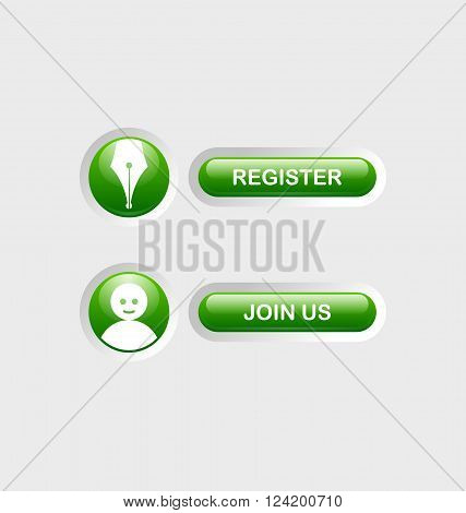Glossy Register and Join Us buttons with icons sunken in pale background surface