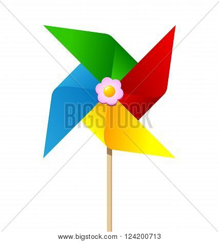 Colorful paper pinwheel isolated on white background