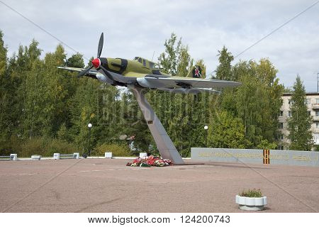 LENINGRAD REGION, RUSSIA - SEPTEMBER 14, 2015: View of a soviet attack aircraft IL-2. The monument to the defenders of Leningrad sky