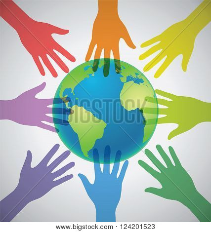 Many Colorful Hands surrounding the Earth Globe Unity World