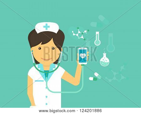 Digital health flat modern illustration of mobile medicine with female doctor wearing uniform and smiling and smartphone with medicine symbols around such as blood pressure, pulse and pills