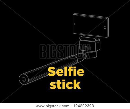 Selfie stick thin line icon on the black background.