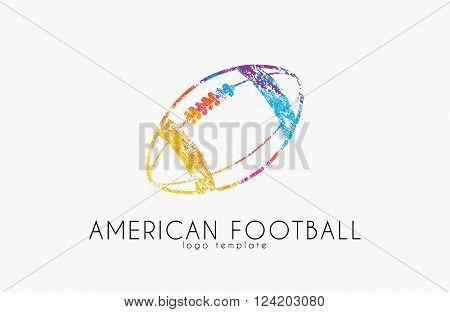 American football ball. football ball. Ball logo.