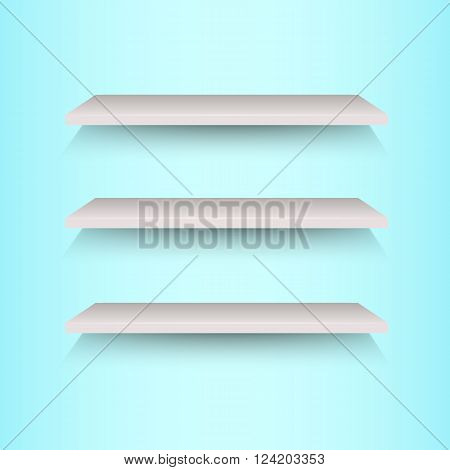 Book shelves on blue background, stock vector