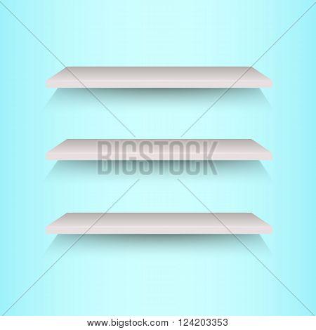 Book shelves on blue background, stock vector