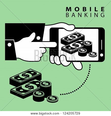 Mobile banking phone device and dollar cash vector illustration