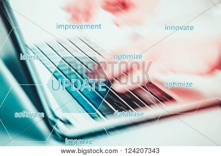 Digital Online Update Upgrade Office Working Concept. Optimize.