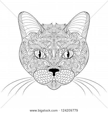 Vector illustration of head of cat on white background.Coloring page.