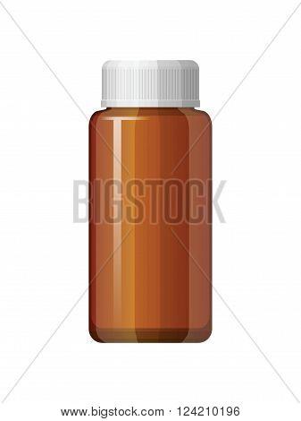 Isolated medicine bottle on white background. Empty medicine bottle for drugs tablets capsules. Pharmaceutic container. Vector medicine bottle poster