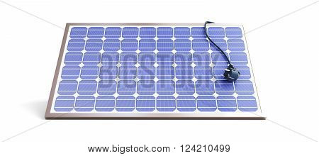solar panel power plug 3D rendering on a white background