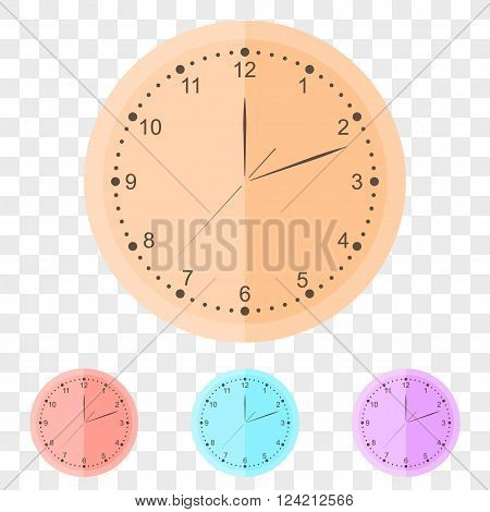 Round wall clock in flat style. The set of clocks of different colors. Clockwise. Three arrows on the dial. The exact time. Vector illustration.
