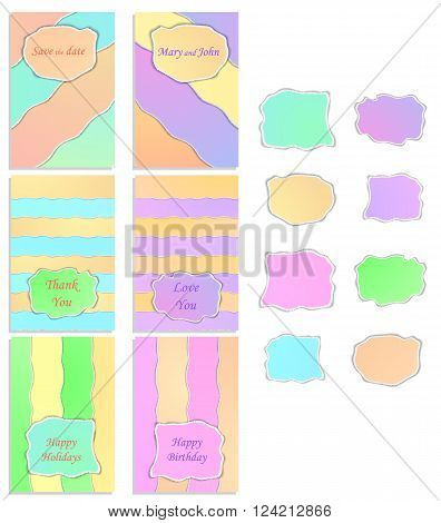 A set of six templates with labels. Pastel colors. Design invitations for wedding birthday save the date. Texture torn paper. Vector illustration.