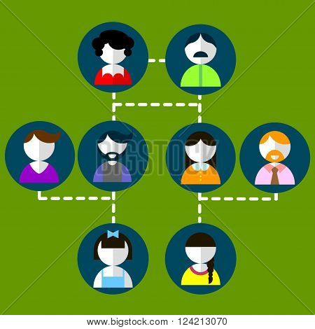 Cartoon vector illustration of three generation family tree