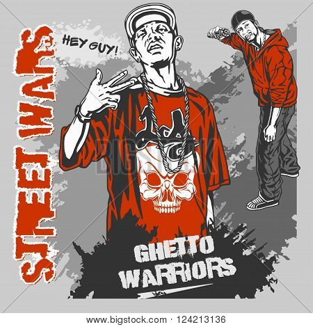 Bandits with guns and design elements - vector set. Ghetto Warriors. Vector illustration