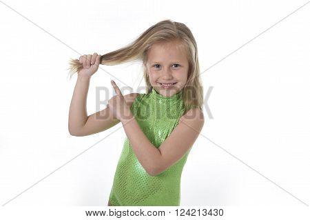 6 or 7 years old little girl with blue eyes smiling happy posing isolated on white background pulling pointing her blond hair in language lesson for child education and body parts school chart serie