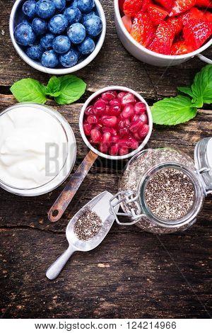 a Yogurt berries chia seeds healthy breakfast ** Note: Shallow depth of field