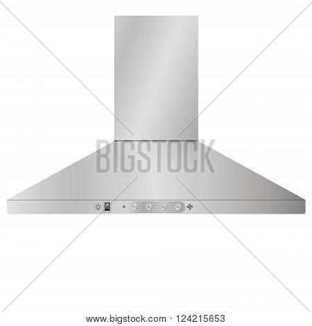 Appliances. Modern kitchen cooker hood in steel silver color. Vector Image.