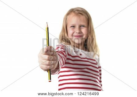 sweet beautiful female child 6 to 8 years old with cute blonde hair and blue eyes holding pencil isolated on white background in education and primary or junior school supplies concept