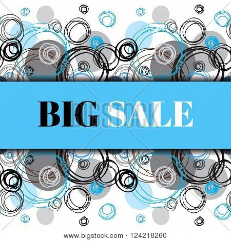 Big sale banner. Abstract geometric background. Horizontal rapport border design. Black blue gray hand drawn elegant circles and outline rings ornament in white background. Vector graphic illustration.