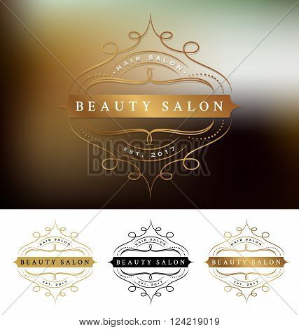 Beauty salon frame logo design with flourishes line. Suitable for beauty salon spa massage cosmetic decorative. Vector illustration