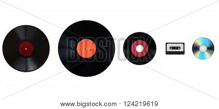 Size comparison of many analogue and digital recording media for music. Left to right: shellac record 78 rpm vinyl record 33 rpm and 45 rpm compact cassette aka tape cassette compact disc poster