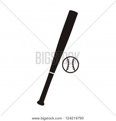 Baseball bat and ball monochrome icon. Baseball game bat, emblem baseball, sport softball game, badge baseball, american game. Vector illustration