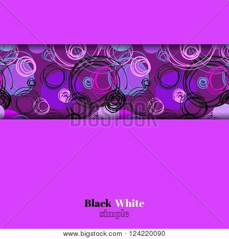 Abstract geometric background. Horizontal border stripe design. Purple blue pink violet hand drawn intersecting outline circles elegant ornament in dark background. Vector element of graphic design