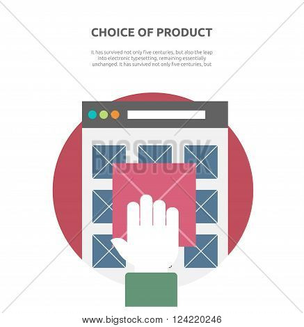 Choice of product on website flat. Website buy, business web, page interface choice product, menu banner choice product, e-commerce purchase, search offer product vector illustration