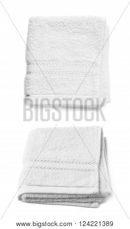 Single white terry cloth towel isolated over the white background, set collection of two different foreshortenings
