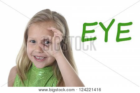 6 or 7 years old little girl with blond hair and blue eyes smiling happy posing isolated on white background circling eye in learning English language school education body parts card set