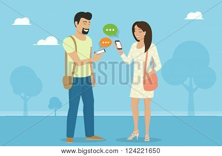 Smiling woman holds the smartphone in her hand and sending messages to her male friend via messenger app. Flat illustration of instant texting and data sharing