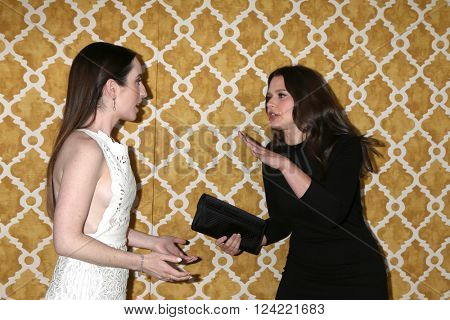 LOS ANGELES - MAR 31:  Zoe Lister-Jones, Katie Lowes at the Confirmation HBO Premiere Screening at the Paramount Studios Theater on March 31, 2016 in Los Angeles, CA