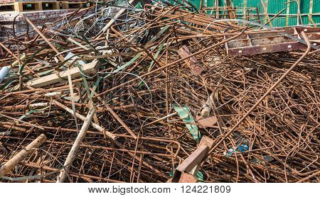 The Group Of Metal Wire For Construction Wait For Recycle