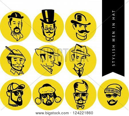 Set of flat vetor hand drawn stylish man in hat portrait isolated on white backdrop. Old fashioned retro. Modern fashion. Hunter, detective, barber logo. Clothing store accessory shop insignia design.