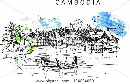 Hand drawn Cambodia landscape sketch. Nature, architect picture. Touristic sight seeing. Print design, book, article illustration. South touristic traveling. Memory postcard, invitation design.