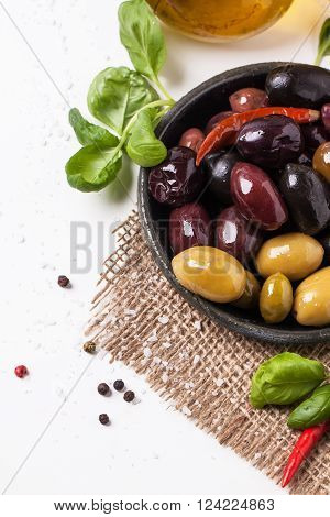 Mix Of Olives And Chili Pepper