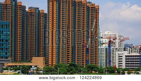 View of the apartment buildings in Hong Kong.