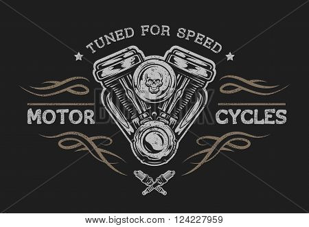 Motorcycle engine in vintage style. Emblem, symbol, t-shirt graphic. For dark background.