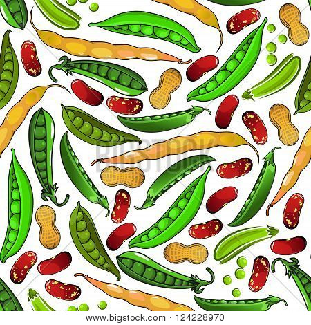 Healthy legumes vegetarian seamless pattern of sweet green peas and peanuts in shell, fresh yellow pods of common bean, brown spotted beans and pea grains. Vegetarian menu or agriculture themes design