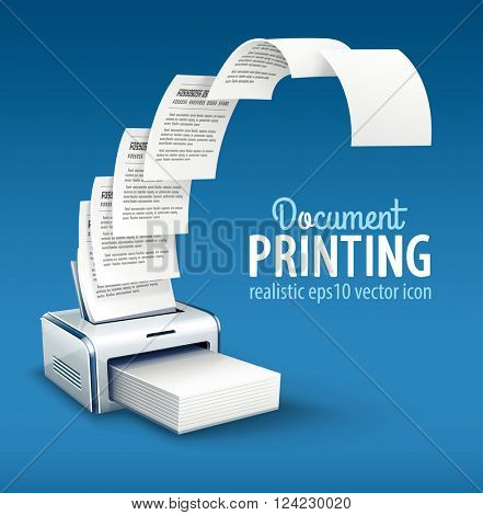 Printer printing copies of text to paper with copyspace vector icon. Illustration. Transparent objects used for lights and shadows drawing